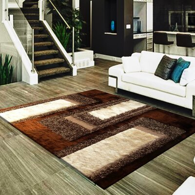 Cuthbertson Geometric Design Hand-Woven Brown/Beige Area Rug