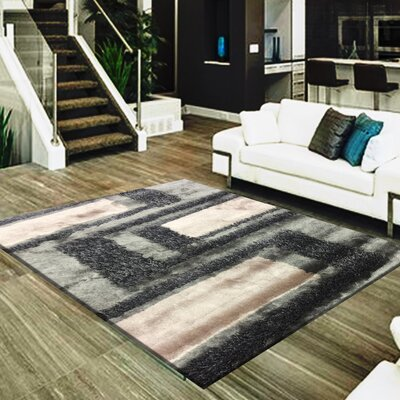 Cuthbertson Geometric Design Hand-Woven Gray/Beige Area Rug