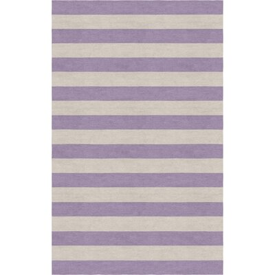 Mellott Stripe Hand-Woven Wool Silver/Violet Area Rug Rug Size: Rectangle 9 x 12