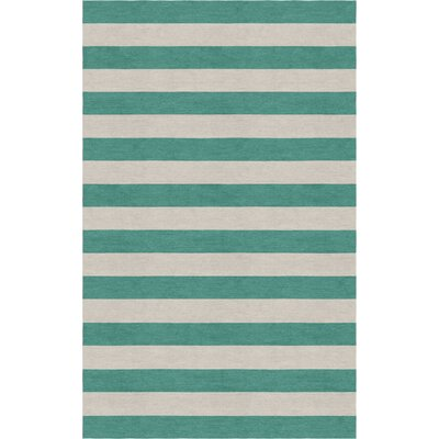 Mellott Stripe Hand-Woven Wool Silver/Teal Area Rug Rug Size: Rectangle 5 x 8