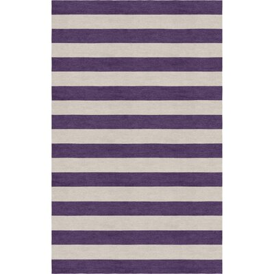 Mellott Stripe Hand-Woven Wool Silver/Dark Violet Area Rug Rug Size: Rectangle 9 x 12