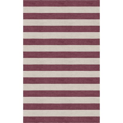 Mellott Stripe Hand-Woven Wool Silver/Dark Purple Area Rug Rug Size: Rectangle 6 x 9