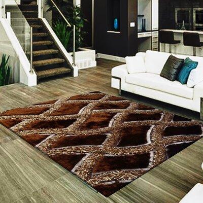 Shawna Geometric Design Hand-Woven Brown Area Rug