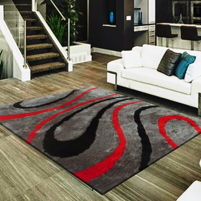 Straley Hand-Woven Gray/Red Area Rug