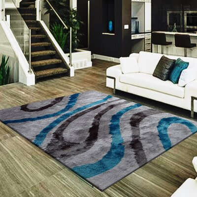 Straley Geometric Design Hand-Woven Gray/Blue Area Rug