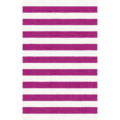 Mellott Stripe Hand-Woven Wool Magenta/White Area Rug Rug Size: Rectangle 5 x 8
