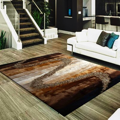 Strale Hand-Woven Brown/Beige Area Rug