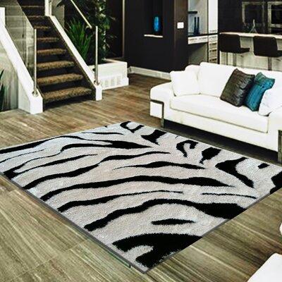 Barefield Zebra Print Design Hand-Woven Black/White Area Rug