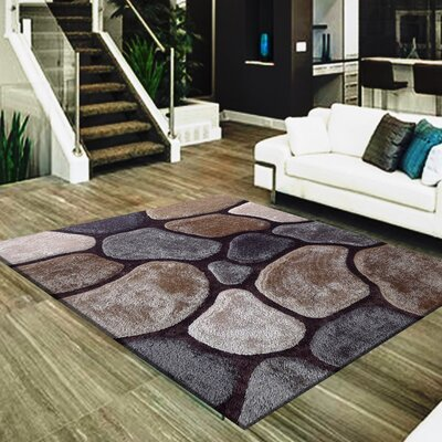 Rosenblatt Rock Design Hand-Tufted Brown/Gray Area Rug