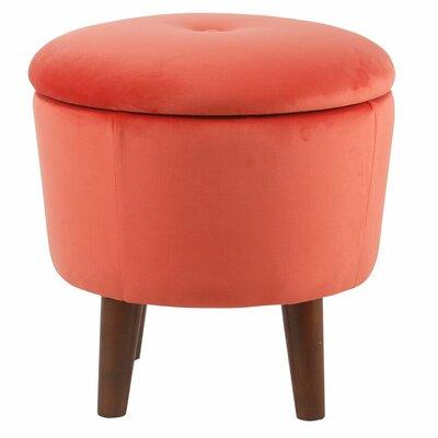 Crew Park Modern Round Storage Ottoman Upholstery: Coral Orange