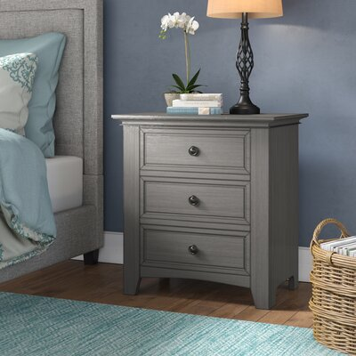 Sefton 3 Drawer Nightstand Color: Antique Gray
