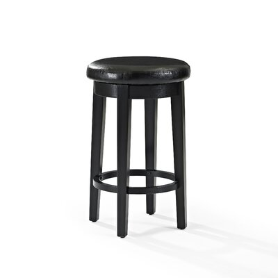 Hiltner 26.25 Swivel Bar Stool Upholstery: Black