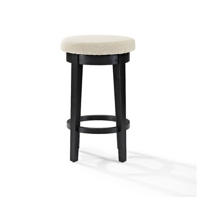 Hiltner 26.25 Swivel Bar Stool Upholstery: Cream