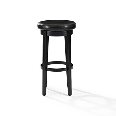 Hiltner 30.25 Swivel Bar Stool Frame Color: Black, Seat Color: Black