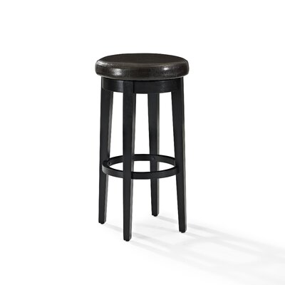 Hiltner 30.25 Swivel Bar Stool Frame Color: Black, Seat Color: Brown
