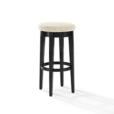 Hiltner 30.25 Swivel Bar Stool Frame Color: Black, Seat Color: Cream