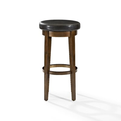 Hiltner 30.25 Swivel Bar Stool Frame Color: Mahogany, Seat Color: Black