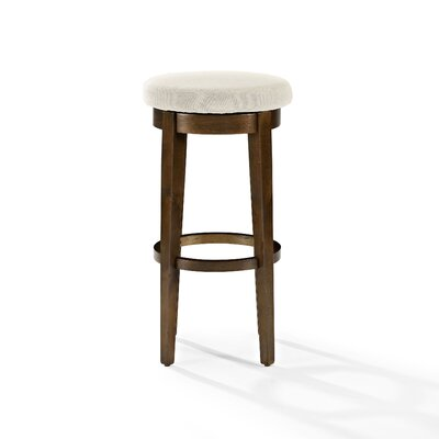 Hiltner 30.25 Swivel Bar Stool Frame Color: Mahogany, Seat Color: Cream