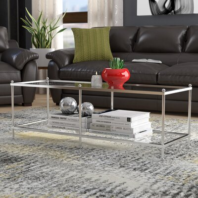 Rigsby Coffee Table with Storage Color: Clear