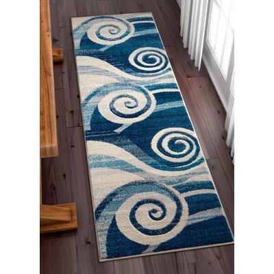 Herring Whirlwind Blue Area Rug Rug Size: Runner 2 x 7