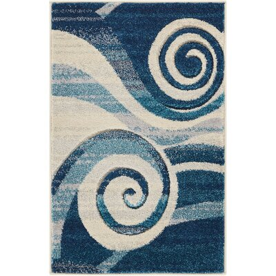Herring Whirlwind Blue Area Rug Rug Size: Rectangle 2 x 3