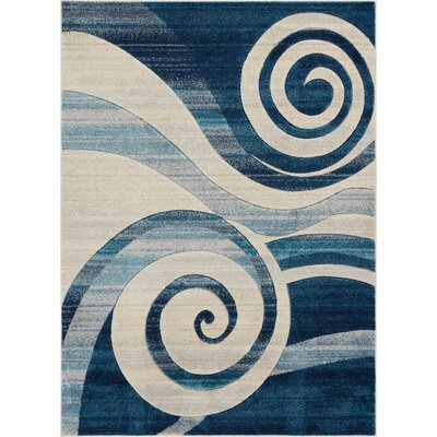 Herring Whirlwind Blue Area Rug Rug Size: Rectangle 53 x 73