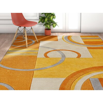 Herring Galaxy Waves Orange Area Rug Rug Size: Runner 2 x 7