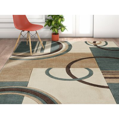 Herring Galaxy Waves Mint Area Rug Rug Size: Rectangle 93 x 126