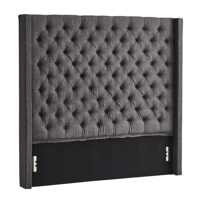 Borchers Upholstered Wingback Headboard Color: Dark Gray, Size: Queen