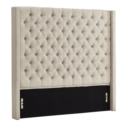 Borchers Upholstered Wingback Headboard Color: Beige, Size: Queen