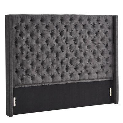 Borchers Upholstered Wingback Headboard Color: Dark Gray, Size: King