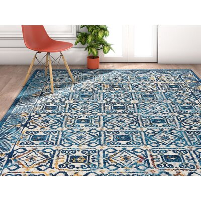 Binstead Modern Vintage Blue Area Rug Rug Size: Rectangle 710 x 910