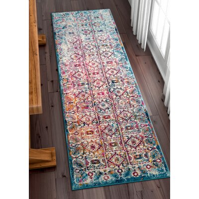 Binstead Modern Vintage Blue/Yellow Area Rug Rug Size: Runner 2'3