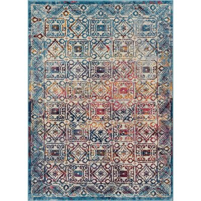 Binstead Modern Vintage Blue/Yellow Area Rug Rug Size: Rectangle 53 x 73