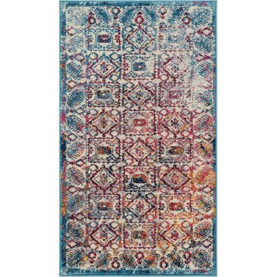 Binstead Modern Vintage Blue/Yellow Area Rug Rug Size: Rectangle 23 x 311