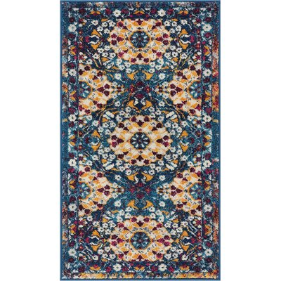 Binstead Mid Century Modern Blue Area Rug Rug Size: Rectangle 2'3