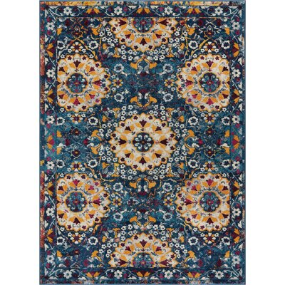 Binstead Mid Century Modern Blue Area Rug Rug Size: Rectangle 5'3