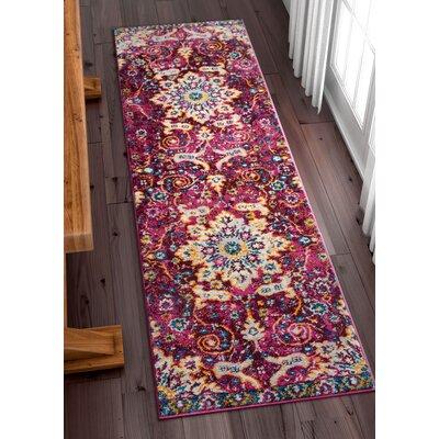 Binstead Wonderly Modern Persian Oriental Floral Lavendar Area Rug Rug Size: Runner 23 x 73