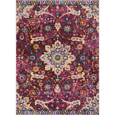 Binstead Wonderly Modern Persian Oriental Floral Lavendar Area Rug Rug Size: Rectangle 53 x 73