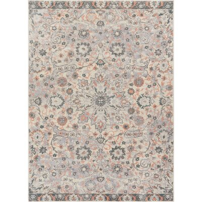 Binstead Wonderly Modern Persian Oriental Floral Gray Area Rug Rug Size: Rectangle 53 x 73