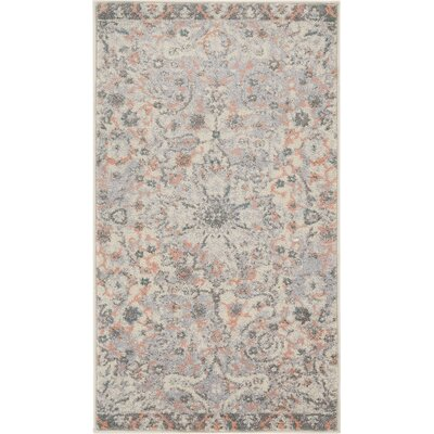 Binstead Wonderly Modern Persian Oriental Floral Gray Area Rug Rug Size: Rectangle 23 x 311
