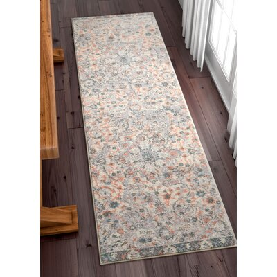 Binstead Wonderly Modern Persian Oriental Floral Gray Area Rug Rug Size: Runner 23 x 73