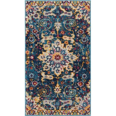 Binstead Wonderly Modern Persian Oriental Floral Blue Area Rug Rug Size: Rectangle 23 x 311