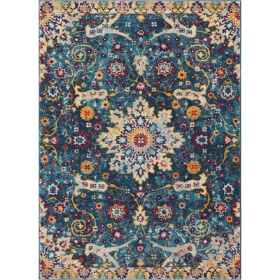 Binstead Wonderly Modern Persian Oriental Floral Blue Area Rug Rug Size: Rectangle 311 x 53