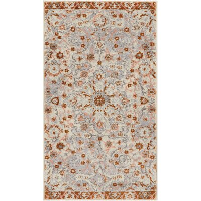 Binstead Wonderly Modern Persian Oriental Floral Gray Copper Area Rug Rug Size: Rectangle 23 x 311