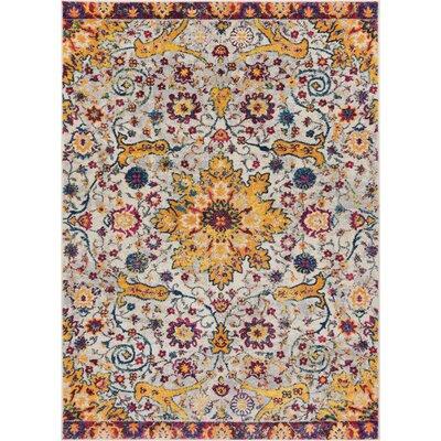 Binstead Wonderly Modern Persian Oriental Floral Gold Area Rug Rug Size: Rectangle 710 x 910