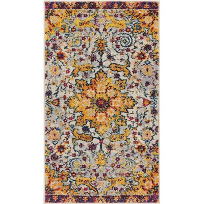 Binstead Wonderly Modern Persian Oriental Floral Gold Area Rug Rug Size: Rectangle 23 x 311