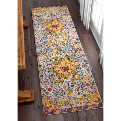 Binstead Wonderly Modern Persian Oriental Floral Gold Area Rug Rug Size: Runner 23 x 73