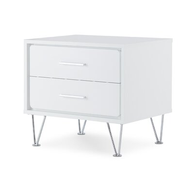 Oakman 2 Drawer Nightstand Color: White