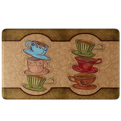 Oxner Coffee Cup Party Comfort Kitchen Mat